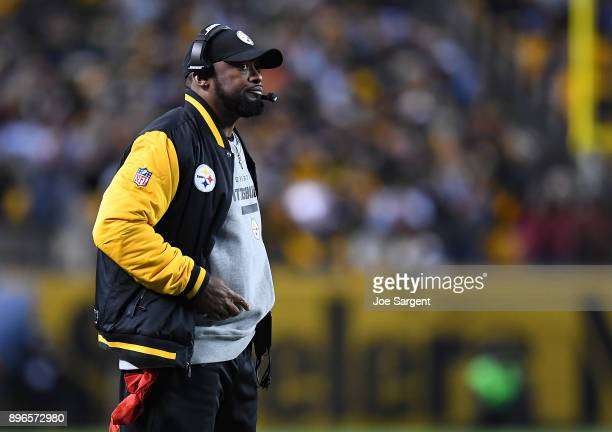 Head coach Mike Tomlin of the Pittsburgh Steelers looks on during the game against the Baltimore Ravens at Heinz Field on December 10 2017 in...