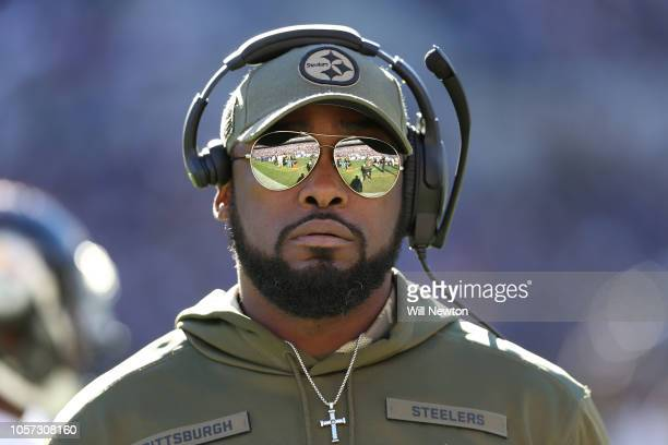 Head Coach Mike Tomlin of the Pittsburgh Steelers looks on from the sidelines in second quarter against the Baltimore Ravens at MT Bank Stadium on...