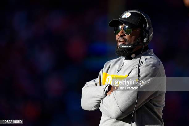 Head coach Mike Tomlin of the Pittsburgh Steelers looks on from the sideline in the second quarter of a game against the Denver Broncos at Broncos...