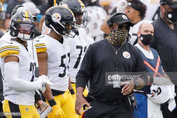 Head coach Mike Tomlin of the Pittsburgh Steelers looks on from the sidelines during the first half against the Jacksonville Jaguars at TIAA Bank...