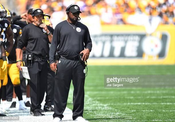 head coach Mike Tomlin of the Pittsburgh Steelers looks on from the sidelines in the first half during the game against the Minnesota Vikings at...