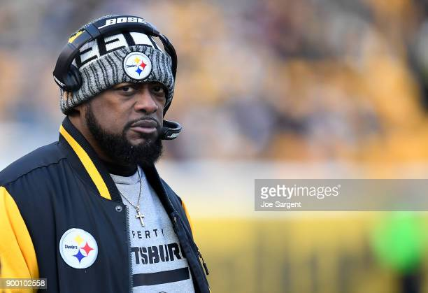 Head coach Mike Tomlin of the Pittsburgh Steelers looks on from the sidelines in the second quarter during the game against the Cleveland Browns at...