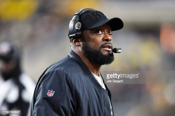 Head coach Mike Tomlin of the Pittsburgh Steelers looks on in the game against the Buffalo Bills at Heinz Field on December 15, 2019 in Pittsburgh,...