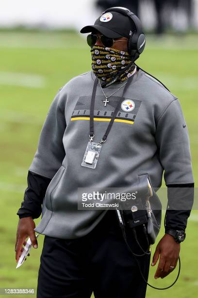 Head coach Mike Tomlin of the Pittsburgh Steelers looks on in the first half against the Baltimore Ravens at M&T Bank Stadium on November 01, 2020 in...