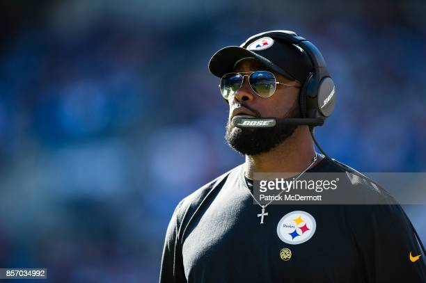 Head coach Mike Tomlin of the Pittsburgh Steelers looks on in the fourth quarter against the Baltimore Ravens at MT Bank Stadium on October 1 2017 in...