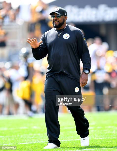 Head coach Mike Tomlin of the Pittsburgh Steelers looks on prior to the game against the Minnesota Vikings at Heinz Field on September 17 2017 in...