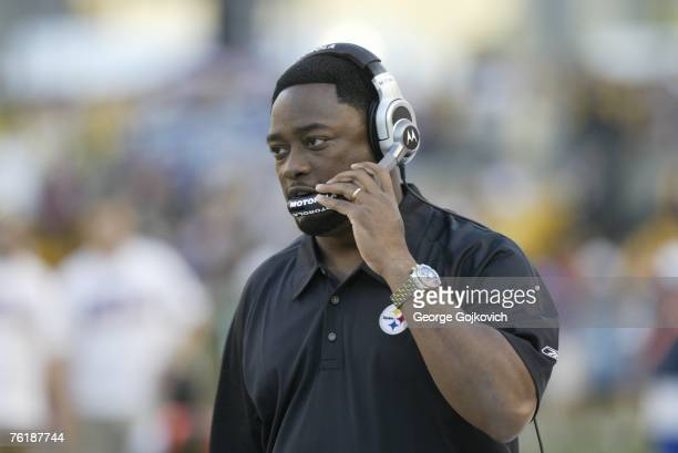 Head Coach Mike Tomlin of the Pittsburgh Steelers on the sideline during a preseason game against the Green Bay Packers at Heinz Field on August 11...