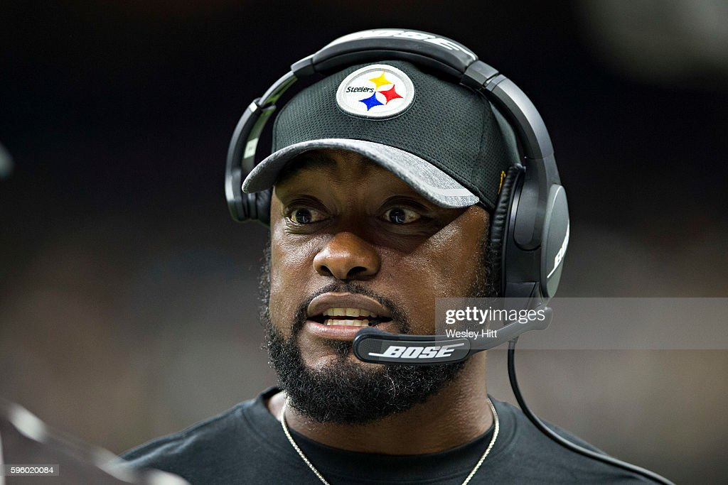 Head Coach Mike Tomlin of the Pittsburgh Steelers on the sidelines during a preseason game against the New Orleans Saints at Mercedes-Benz Superdome on August 26, 2016 in New Orleans, Louisiana. The Steelers defeated the Saints 27-14.