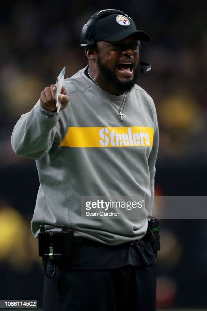 Head coach Mike Tomlin of the Pittsburgh Steelers reacts during the first half against the New Orleans Saints at the MercedesBenz Superdome on...