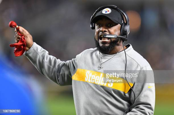 head coach Mike Tomlin of the Pittsburgh Steelers reacts in the first half during the game against the Los Angeles Chargers at Heinz Field on...