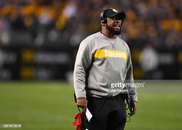 Head coach Mike Tomlin of the Pittsburgh Steelers reacts in the second half during the game against the Los Angeles Chargers at Heinz Field on...