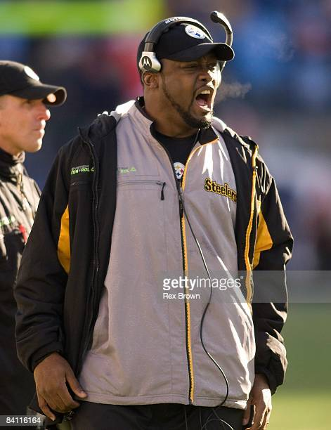 Head coach Mike Tomlin of the Pittsburgh Steelers reacts to a call during the second half against the Tennessee Titans on December 21, 2008 at LP...