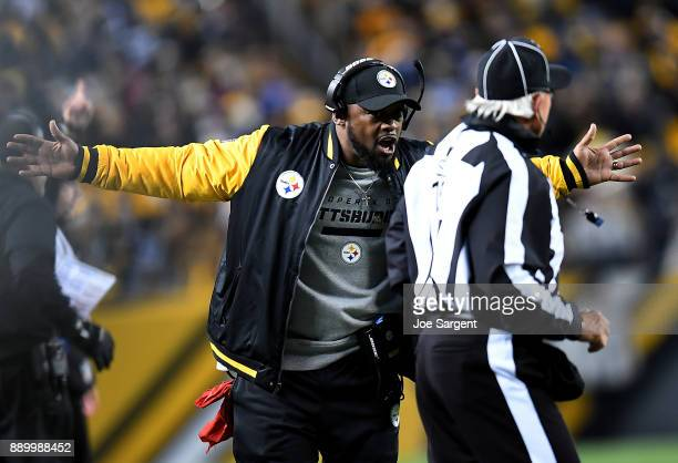 Head coach Mike Tomlin of the Pittsburgh Steelers reacts to a penalty flag in the second half during the game against the Baltimore Ravens at Heinz...