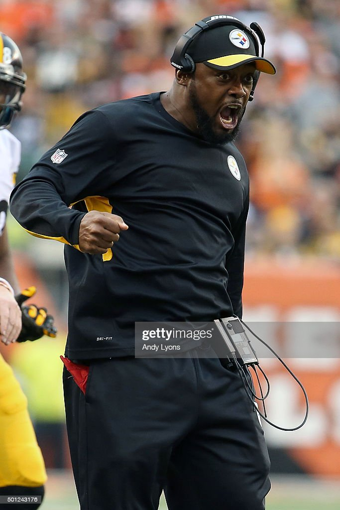 Head Coach Mike Tomlin of the Pittsburgh Steelers reacts to a play during the third quarter of the game against the Cincinnati Bengals at Paul Brown Stadium on December 13, 2015 in Cincinnati, Ohio.