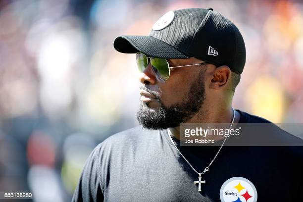 Head coach Mike Tomlin of the Pittsburgh Steelers stands on the sidelines during the game against the Chicago Bears at Soldier Field on September 24...