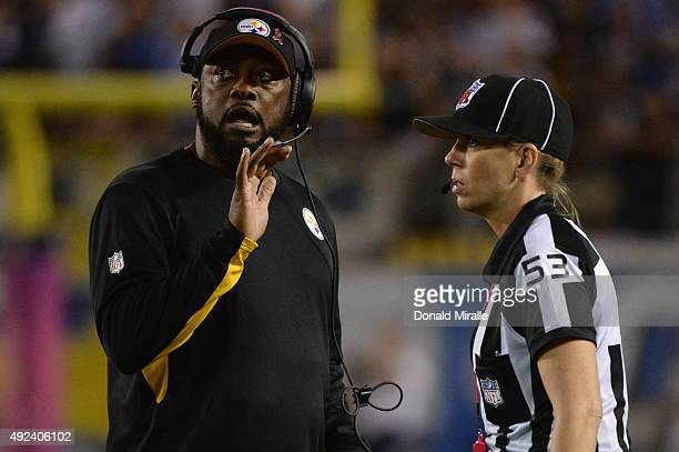 Head coach Mike Tomlin of the Pittsburgh Steelers talks to line judge Sarah Thomas during a game against the San Diego Chargers at Qualcomm Stadium...