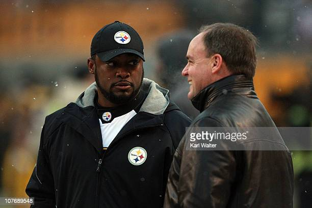 Head Coach Mike Tomlin of the Pittsburgh Steelers talks with General Manager Kevin Colbert before the game against the New York Jets at Heinz Field...