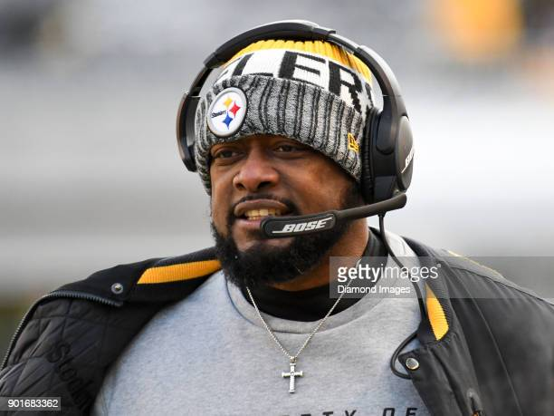 Head coach Mike Tomlin of the Pittsburgh Steelers walks along the sideline in the third quarter of a game on December 31 2017 against the Cleveland...
