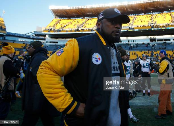 Head coach Mike Tomlin of the Pittsburgh Steelers walks off the end at the conclusion of the Jacksonville Jaguars 4542 win over the Pittsburgh...