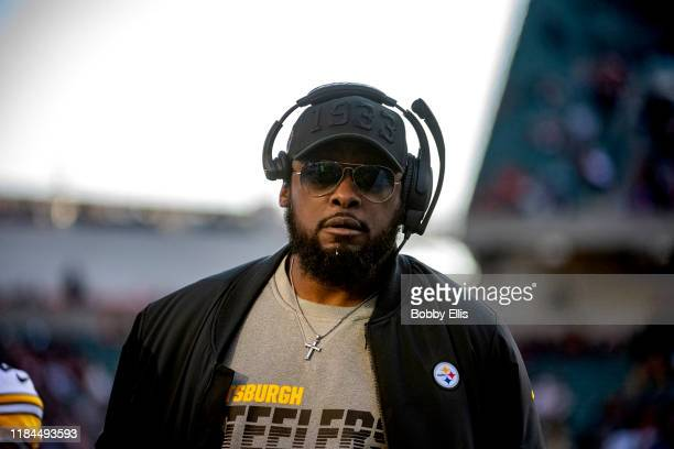 Head Coach Mike Tomlin of the Pittsburgh Steelers walks the sidelines during the third quarter of the game against the Cincinnati Bengals at Paul...
