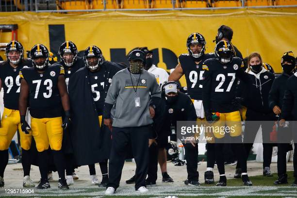 Head coach Mike Tomlin of the Pittsburgh Steelers watches action during the AFC Wild Card Playoff game against the Cleveland Browns at Heinz Field on...