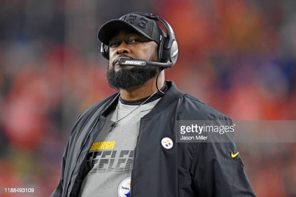 Head coach Mike Tomlin of the Pittsburgh Steelers watches from the sidelines during the second half against the Cleveland Browns at FirstEnergy...