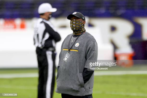 Head coach Mike Tomlin of the Pittsburgh Steelers watches warm ups before the start of theirt game against the Baltimore Ravens at M&T Bank Stadium...