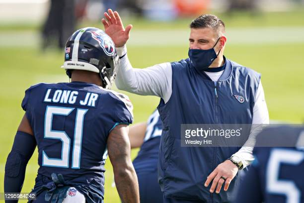 Head Coach Mike Vrabel of the Tennessee Titans during warm ups before their AFC Wild Card Playoff game against the Baltimore Ravens at Nissan Stadium...