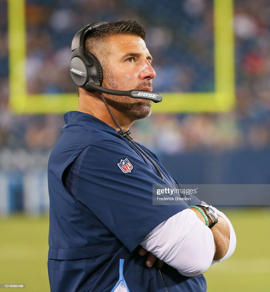 Head coach Mike Vrabel of the Tennessee Titans watches from the sideline during the second half of a pre-season game against the Tampa Bay Buccaneers at Nissan Stadium on August 18, 2018 in Nashville, Tennessee.