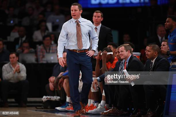 Head coach Mike White of the Florida Gators looks on against the Duke Blue Devils in the first half during the Jimmy V Classic at Madison Square...