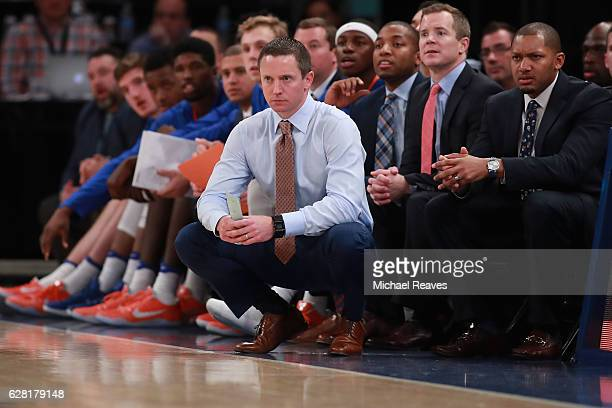 Head coach Mike White of the Florida Gators looks on against the Duke Blue Devils in the second half during the Jimmy V Classic at Madison Square...