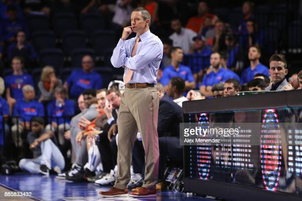 Head coach Mike White of the Florida Gators looks on during a NCAA basketball game against the Florida State Seminoles at the Stephen C O' Connell...