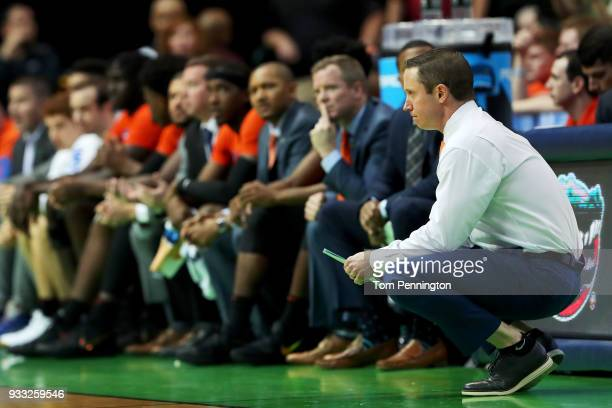 Head coach Mike White of the Florida Gators looks on in the first half against the Texas Tech Red Raiders during the second round of the 2018 NCAA...