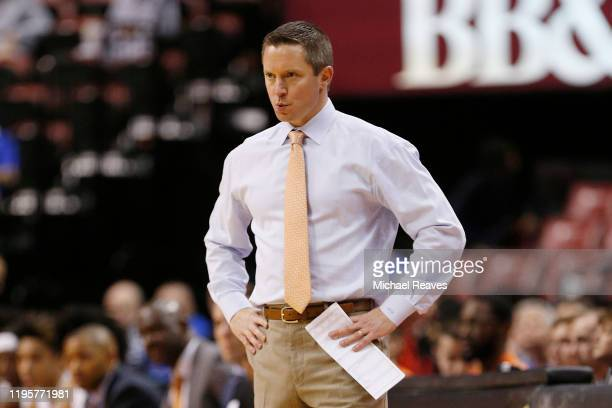 Head coach Mike White of the Florida Gators reacts against the Utah State Aggies during the first half of the Orange Bowl Basketball Classic at BBT...