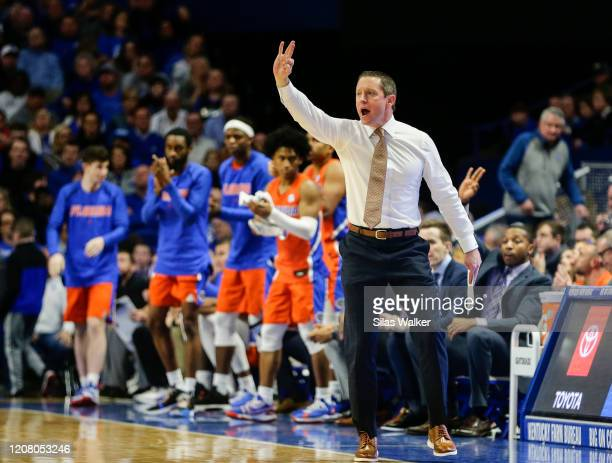 Head coach Mike White of the Florida Gators shouts to his players during the second half of the game against the Kentucky Wildcats at Rupp Arena on...