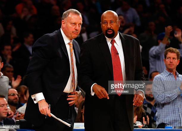 Head coach Mike Woodson and assistant coach Jim Todd look on against the Miami Heat at Madison Square Garden on January 9 2014 in New York City The...