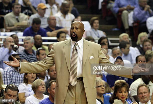 Head coach Mike Woodson of the Atlanta Hawks protests to an official while taking on the Orlando Magic in Game One of the Eastern Conference...