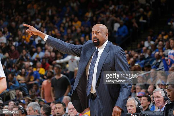 Head Coach Mike Woodson of the New York Knicks coaches against the Golden State Warriors on March 30 2014 at Oracle Arena in Oakland California NOTE...