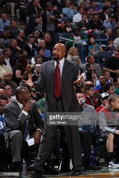 Head coach Mike Woodson of the New York Knicks coaches from the sidelines during the game against the Milwaukee Bucks on April 11 2012 at the Bradley...