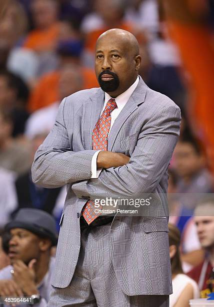 Head coach Mike Woodson of the New York Knicks during the NBA game against the Phoenix Suns at US Airways Center on March 28 2014 in Phoenix Arizona...