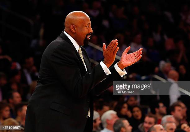Head coach Mike Woodson of the New York Knicks in action against the Orlando Magic at Madison Square Garden on December 6 2013 in New York City The...