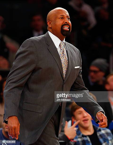 Head coach Mike Woodson of the New York Knicks in action against the Atlanta Hawks at Madison Square Garden on December 14 2013 in New York City The...