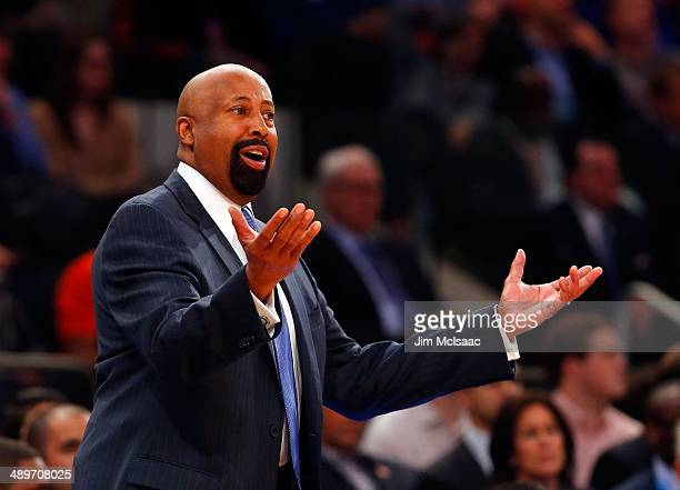 Head coach Mike Woodson of the New York Knicks in action against the Washington Wizards at Madison Square Garden on April 4 2014 in New York City The...