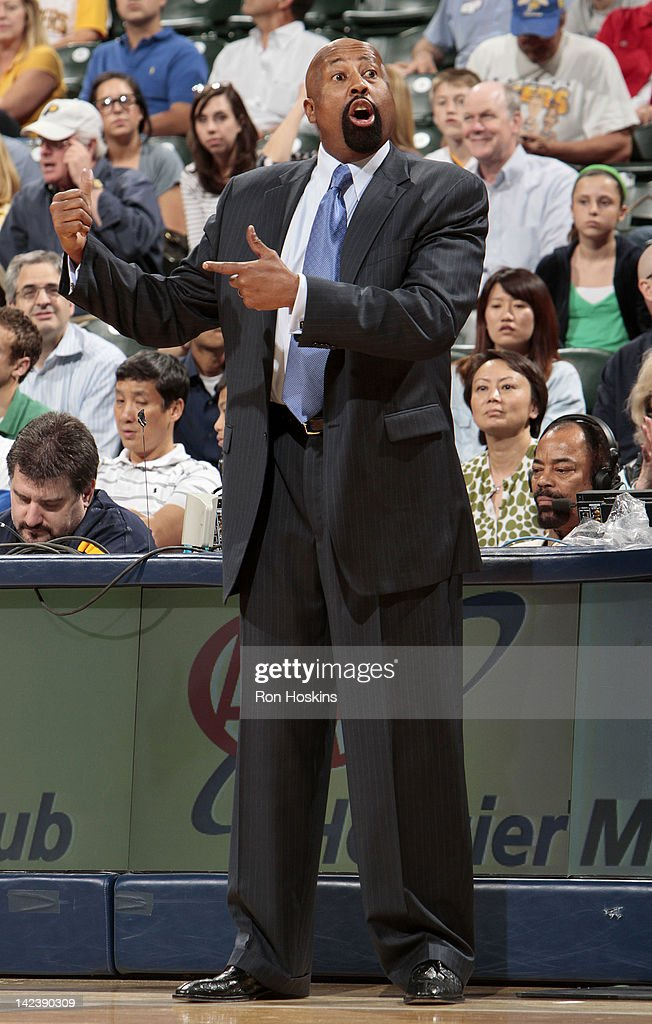 Head coach Mike Woodson of the New York Knicks reacts to the game action against the Indiana Pacers on April 3, 2012 at Bankers Life Fieldhouse in Indianapolis, Indiana.