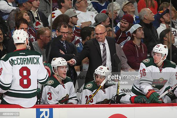 Head Coach Mike Yeo of the Minnesota Wild leads his team against the Colorado Avalanche in Game Two of the First Round of the 2014 Stanley Cup...
