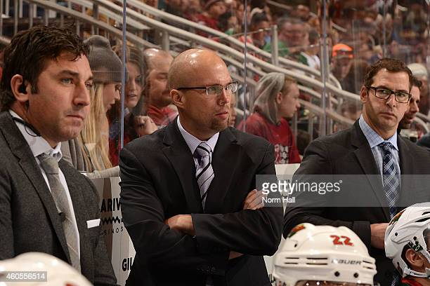 Head coach Mike Yeo of the Minnesota Wild looks on from the bench against the Arizona Coyotes at Gila River Arena on December 13 2014 in Glendale...