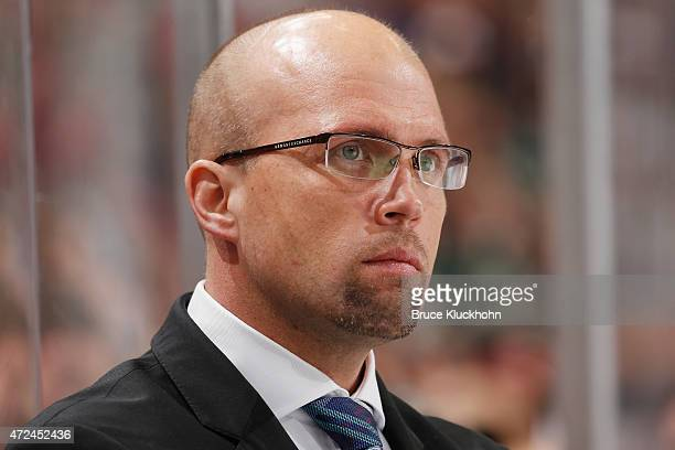 Head coach Mike Yeo of the Minnesota Wild watches from behind the bench in Game Three of the Western Conference Semifinals during the 2015 NHL...