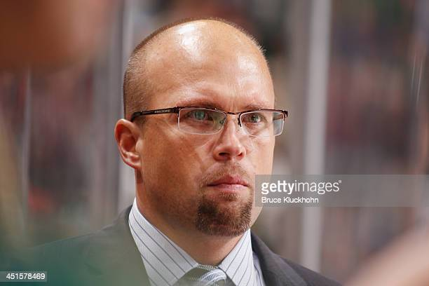 Head Coach Mike Yeo of the Minnesota Wild watches the action from the bench during the game against the Florida Panthers on November 15 2013 at the...