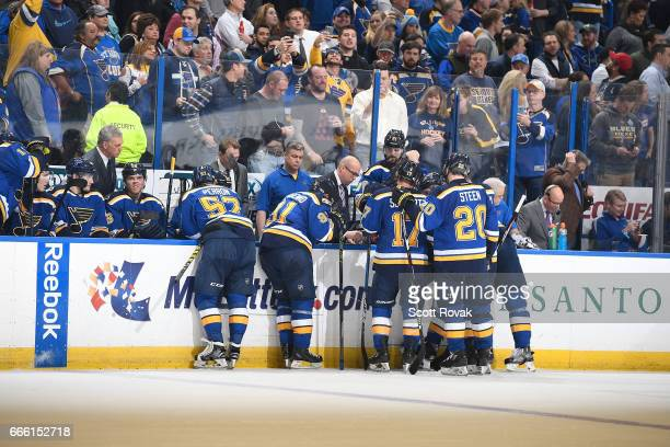 Head coach Mike Yeo of the St Louis Blues coaches against the Edmonton Oilers on February 28 2017 at Scottrade Center in St Louis Missouri