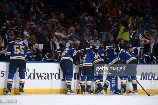 Head coach Mike Yeo of the St Louis Blues coaches against the Pittsburgh Penguins on February 4 2017 in St Louis Missouri